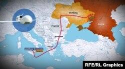 Маршрут безпілотника Global Hawk з авіабази до лінії розмежування на сході України