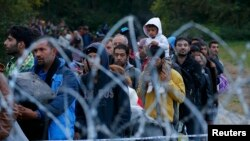 Hungary -- Migrants make their way after crossing the border at Zakany, Hungary October 16, 2015.