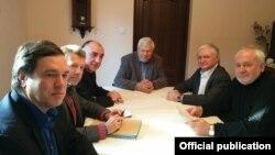 Հայաստանի և Ադրբեջանի ԱԳ նախարարները, ԵԱՀԿ Մինսկի խմբի համանախագահները և ԵԱՀԿ գործող նախագահի անձնական ներկայացուցիչը Կրակովի հանդիպման ժամանակ, 18-ը հունվարի, 2018թ․