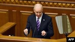 Американскиот потпретседател Џо Бајден за време на неговиот говор во украинскиот парламент.