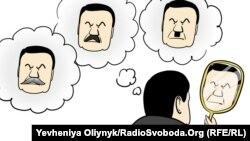 Syýasy karikatura, Ukraina, 27-nji ýanwar, 2014. Awtor Ýewgeniýa Oleýnik.