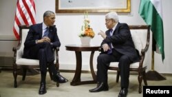 Predsjednik SAD Barak Obama i palestinski predsjednik Mahmud Abas tokom sastanka u sjedištu Palestinske sampouprave u Ramali na Zapadnoj Obali, 21. mart 2013.