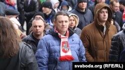 Ілюстрацыйнае фота. Алесь Макаеў падчас мітынгу прадпрымальнікаў у Менску, 14 красавіка 2016 году