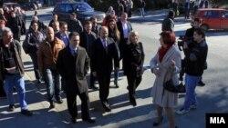 Премиерот Никола Груевски на пуштањето во употреба на реконструирана улица во Скопје.