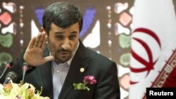 Iranian President Mahmud Ahmadinejad speaks during the Great Congress of Iranians Abroad in Tehran.