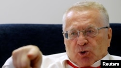Vladimir Zhirinovsky, leader of the Liberal Democratic Party of Russia, speaks during an interview with Reuters in Moscow on October 11.