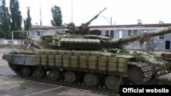 A tank used by the separatists in eastern Ukraine and captured by Ukraine government forces on June 27.