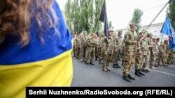 Во время «Марша защитников» ко Дню Независимости Украины. Киев, 24 августа 2020 года