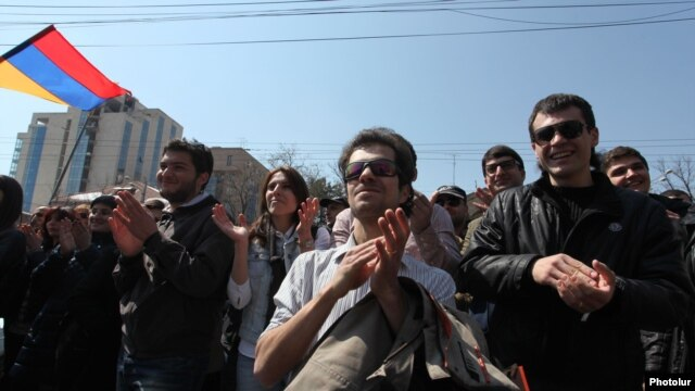 Armenia - Activists hail the Constitutional Court's decision to strike down a controversial pension reform, 2Mar2014.