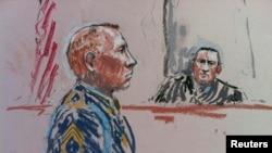 Робэрт Бэйлз падчас суду. Малюнак