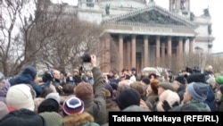 Protesters rally against the transfer of St. Isaac's Cathedral to the Russian Orthodox Church, in St. Petersburg on February 12.