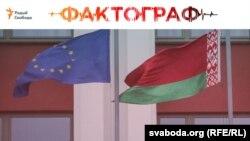 AB (solda) və Belarusun bayraqları
