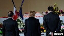 Франция президенты Франсуа Олланд, Германия канцлеры Ангела Меркель һәм Испания премьер-министры Мариано Рахой
