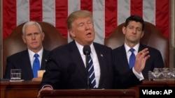 Президент США Дональд Трамп выступает перед членами конгресса. Вашингтон, 28 февраля 2017 года