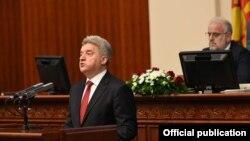 Presidenti i Maqedonisë, Gjorge Ivanov gjatë fjalimit të tij vjetor para Kuvendit të Maqedonisë.