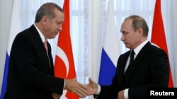 Russia -- Russian President Vladimir Putin shakes hands with Turkish President Tayyip Erdogan during a news conference following their meeting in St. Petersburg, August 9, 2016.