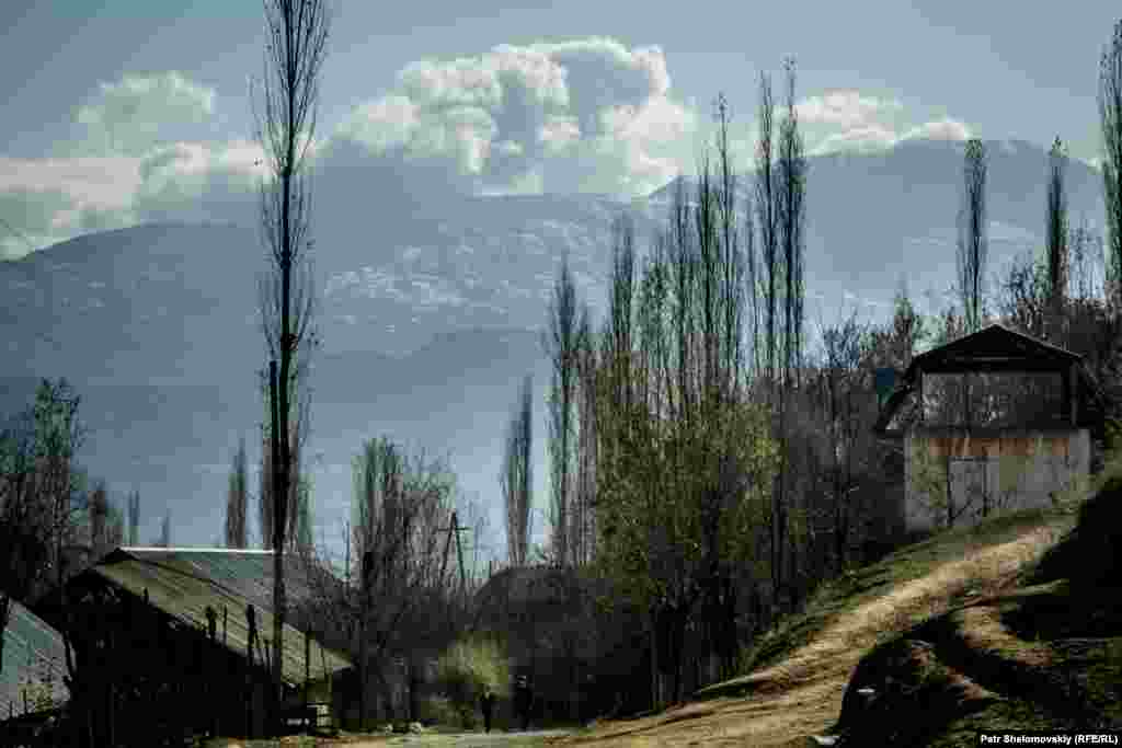 A view of the mountains from Zarina's neighborhood in Obigarm.