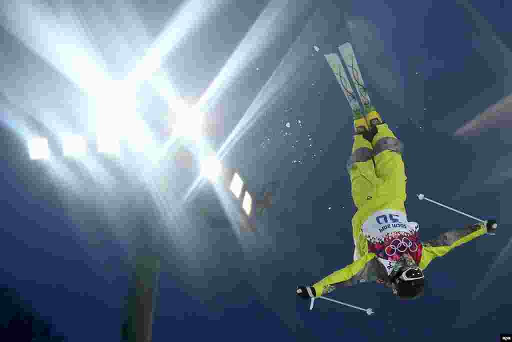 Kazakhstan's Pavel Kolmakov in action during the freestyle-skiing men's moguls qualification 1