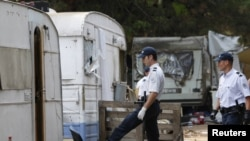 French police inspect an illegal Roma camp to control and check the identity of its residents in Aix-en-Provence last month.
