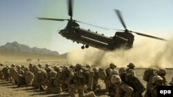 File photo of British Royal Air Force Chinook CH-47 in Helmand.