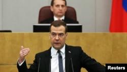Ресей премьер-министрі Дмитрий Медведев мемлекеттік думада сөйлеп тұр. Мәскеу, 22 сәуір 2014 жыл.