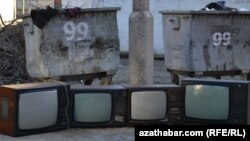 Turkmenistan -- TV's are in garbage in Ashgabat, 16Feb2013