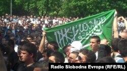 Протест на млади Албанци во Скопје.