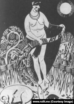 """Иллюстрация Г. Нарбута к стих. """"Предпасхальное"""" (""""Пасхальная жертва""""). 1919. Тушь, перо, гуашь"""
