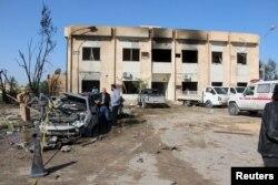 Уничтоженный исламистами тренировочный центр полиции вблизи Триполи. Январь 2016 года