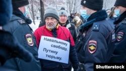 پولیس روسیه در جریان تظاهرات