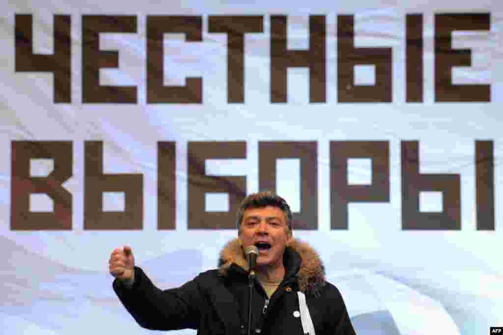 Nemtsov attends an opposition rally for fair parliamentary elections after alleged electoral fraud in 2011.