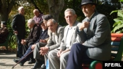 Armenia -- Pensioners sitting in a park in Yerevan, undated