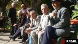Armenia -- Pensioners sitting in a park in Yerevan, undated