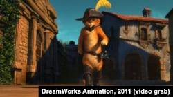 """Фрагмент из мультфильма """"Кот в сапогах"""" студии """"DreamWorks Animation"""" 2011 года"""