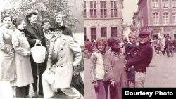 Володимир Михайлишин у колі друзів (у ковбойському капелюсі ліворуч, 1978 рік) та разом із сином Йосипа Сірки (1984 рік). Фото Йосипа Сірки