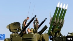 A Russian Buk-M2 antiaircraft system on display at an airshow outside Moscow in 2011