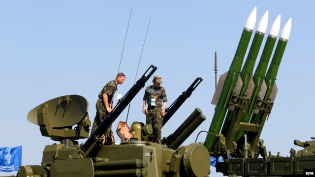 A Russian Buk-M2 rocket system is shown on display during the MAKS 2011 airshow in the town of Zhukovsky, outside Moscow, in August 2011.
