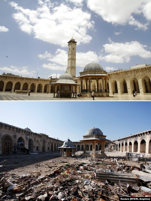 The Umayyad mosque in the Old City of Aleppo. The historic district, built in the 12th to 16th centuries, became a UNESCO World Heritage Site in 1986.