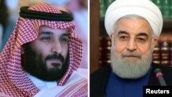 На комбинированном фото – кронпринц Саудовской Аравии Мохаммад бин Салман (слева) и президент Ирана Хасан Роухани.