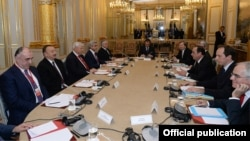 France - The French, Armenian and Azerbaijani Presidents, Francois Hollande, Serzh Sarkisian and Ilham Aliyev, as well as the OSCE's Minsk Group Co-Chairs, meet in Paris to discuss Nagorno Karabakh, 27Oct,2014