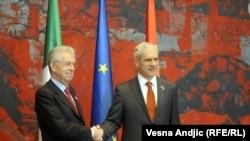 Italijanski premijer Mario Monti prilikom susreta sa predsednikom Srbije Borisom Tadićem, Beograd, 8. mart 2012.