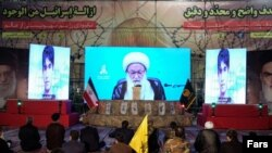 The leader of Bahrain's Shiites, Sheikh Issa Qassem addressing the Fatemiyoun gathering. August 13, 2020