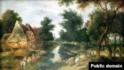 Ян Брэйгель ІІ, «Вясковая вуліца з азярынай»