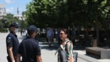 Kosovo: Authorities inspect in downtown Prishtina, if people are complying with the measures against COVID-19.