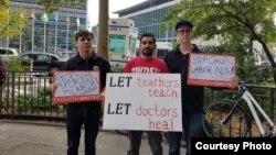 Aktiwistler Türkmenistanyň mejbury zähmeti ulanmagyna garşy protest bildirýärler. Arhiw suraty.