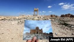 عکس آثار باستانی پالمیرا قبل از اشغال از سوی داعش و تصویر آن پس از ویرانی.
