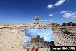 Фотография уничтоженного ИГ древнего храма - на месте, где он стоял