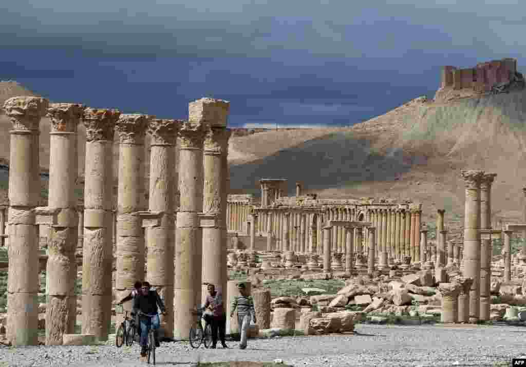 Acum un an, totul era calm la Palmira. Această imagine a fost luată în 14 martie 2014.