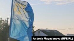 Крымскотатарский флаг базе «Гражданской блокады Крыма»