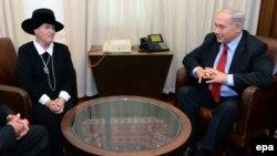 Эстер Поллард, супруга Джоната Полларда, во время встречи с премьер-министром Нетаньяху